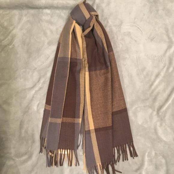 1060a507c55 ⛄️Color Block Check Sky Cashmere Virgin Wool Scarf